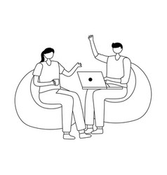 man and woman sitting with laptop isolated design vector image