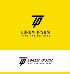 minimalist modern line art letter ht logo design vector image