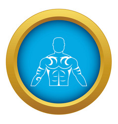 Muscular man with tattoo icon blue isolated vector