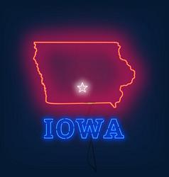 Neon map state of iowa on dark background vector
