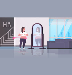 Overweight woman doing gymnastic rotating workout vector