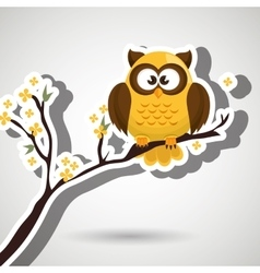 owl yellow tree leaves yellow vector image