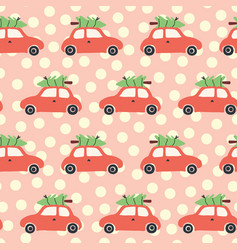 pattern with red car and christmas tree on roof vector image