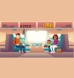 people in train passengers travel railway car vector image