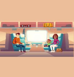 People in train passengers travel railway car vector