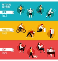 Physical activity horizontal banners vector