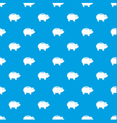 piggy pattern seamless blue vector image