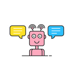 Pink contour support chatbot logo vector