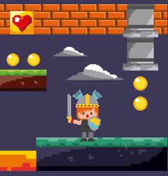 pixel game knight coins level night landscape vector image