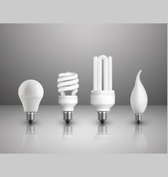 realistic electric lightbulbs set vector image