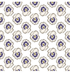Seamless floral pattern beautiful pansy flower vector