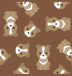 seamless pattern cute dog flat design vector image