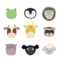 set cute funny animals frog sheep cow vector image