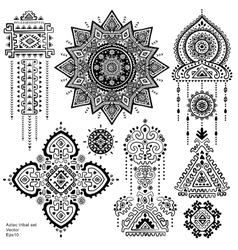 Set of Aztec tribal elements and symbols vector