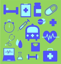 Set of health icons on green background vector image