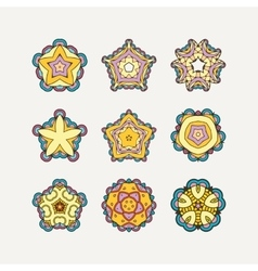 Set of ornate mandala symbols Mehndi lace vector image