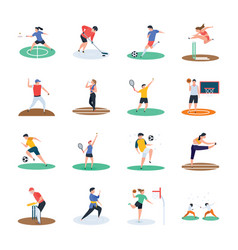 Set of soccer cricket hockey sports player ic vector