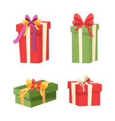 set packages with surprises inside gifts icons vector image