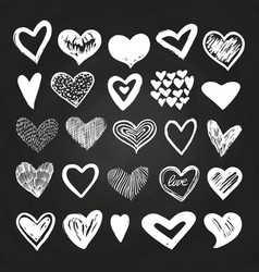 sketch white hearts set on blackboard vector image