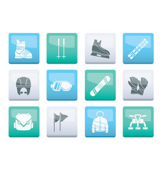 ski and snowboard equipment icons vector image