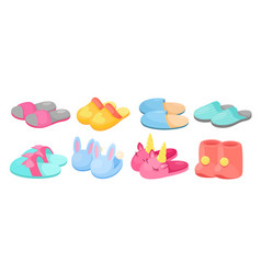 slippers set cartoon flat vector image