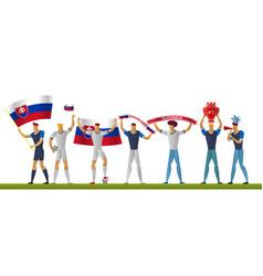 Slovakia football fans cheerful soccer vector