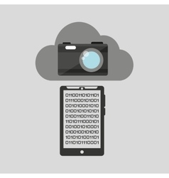 Smartphone transfer cloud data camera vector