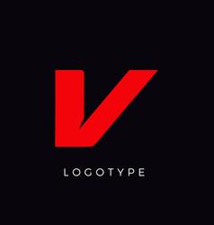 Speed letter v red race monogram logo italic vector