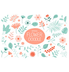 Spring flowers set with pastel color floral and vector