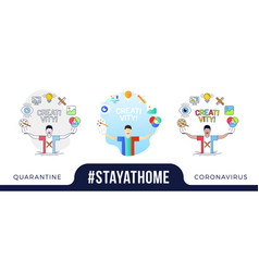 Stay at home concept character with his hands up vector