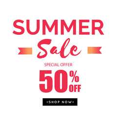 summer sale special offer 50 off ribbon backgroun vector image