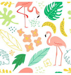 summer seamless background with flamingo plants vector image