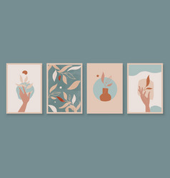 Teal and peach abstract botanical art with woman vector