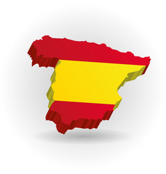 three dimensional map spain in spanish flag vector image