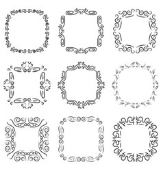 vintage frame decoration set vector image