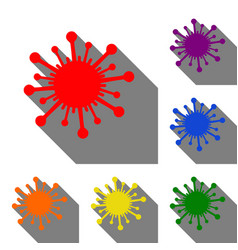 virus sign set of red orange vector image