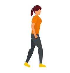 Walking girl icon flat style vector