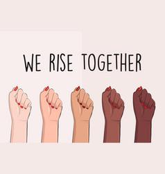 We rise together political slogan black lives vector