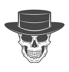 Wild west skull with hat Smiling rover logo vector
