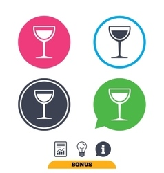 Wine glass sign icon Alcohol drink symbol vector image