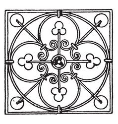 Wrought-iron square panel is a modern design vector