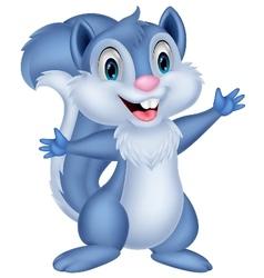 Cute squirrel cartoon waving vector image vector image