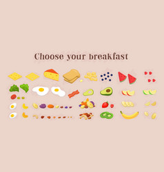 Healthy breakfast food icons collection fruits vector