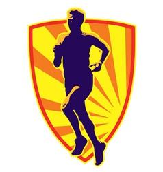 marathon runner shield vector image vector image
