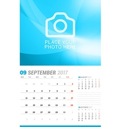 September 2017 Wall Monthly Calendar for 2017 Year vector image
