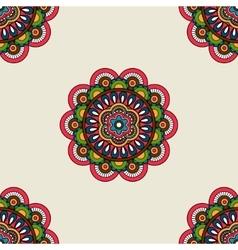Boho doodle mandala seamless pattern vector image