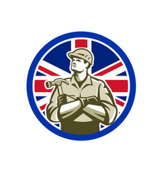 British builder union jack flag icon vector