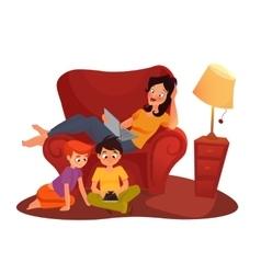 girl is watching online movie cartoon vector image vector image