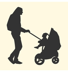 a silhouette of a father with a backpack carries a vector image vector image
