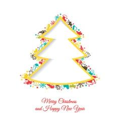 Abstract Christmas tree made of Christmas items vector image